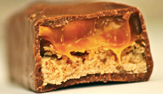 Internal photo of a Snickers candy bar