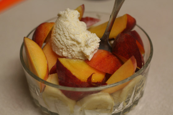Ice cream and fruit