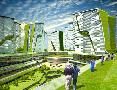 A photo of a city with Ken Yeang's vegetated architecture vision